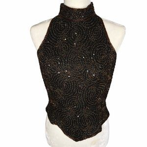 VTG 90s Papell Boutique Beaded Sleeveless Silk Top
